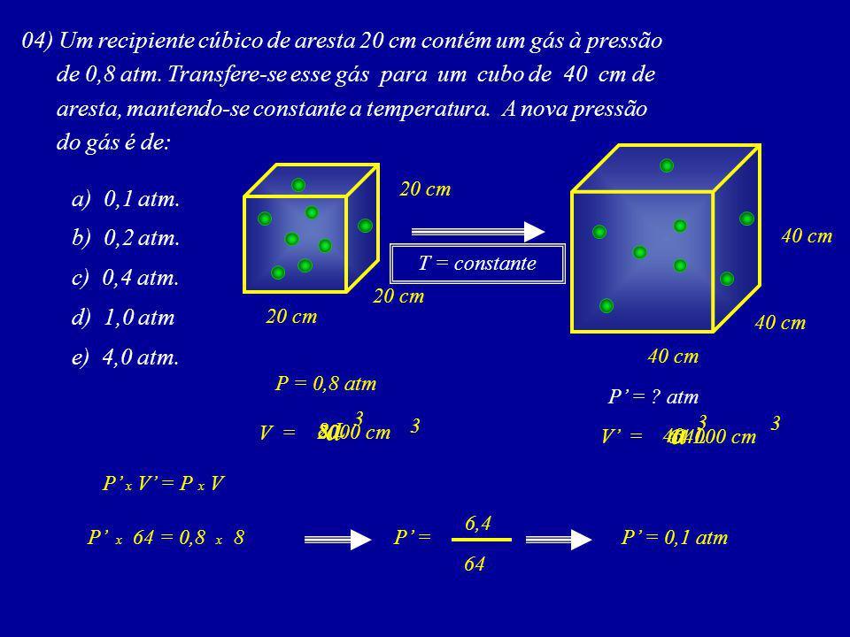 a a 04) Um recipiente cúbico de aresta 20 cm contém um gás à pressão