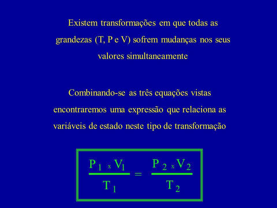 Existem transformações em que todas as grandezas (T, P e V) sofrem mudanças nos seus valores simultaneamente