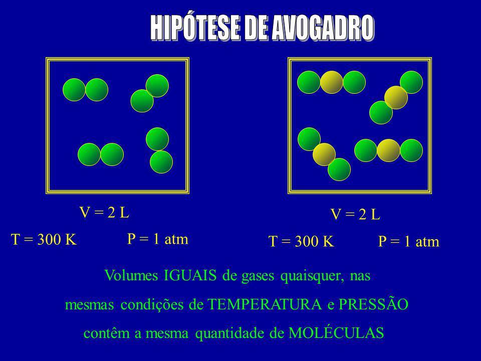 HIPÓTESE DE AVOGADRO V = 2 L V = 2 L T = 300 K P = 1 atm T = 300 K