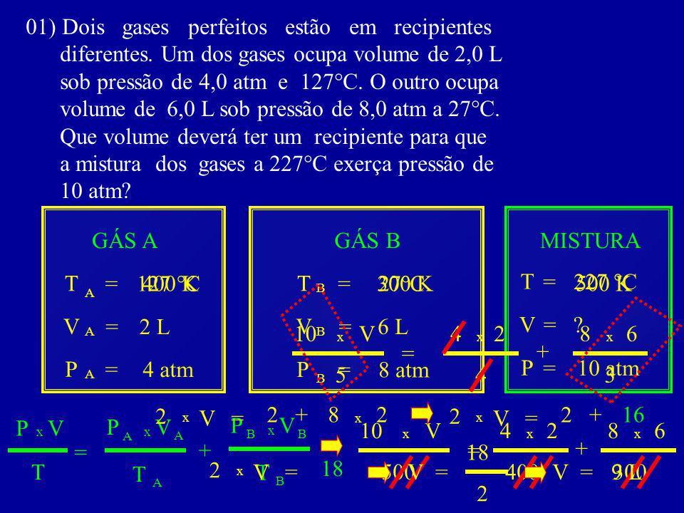 01) Dois gases perfeitos estão em recipientes