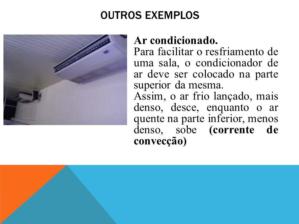 Outros Exemplos Ar condicionado. Para facilitar o resfriamento de uma sala, o condicionador de ar deve ser colocado na parte superior da mesma.