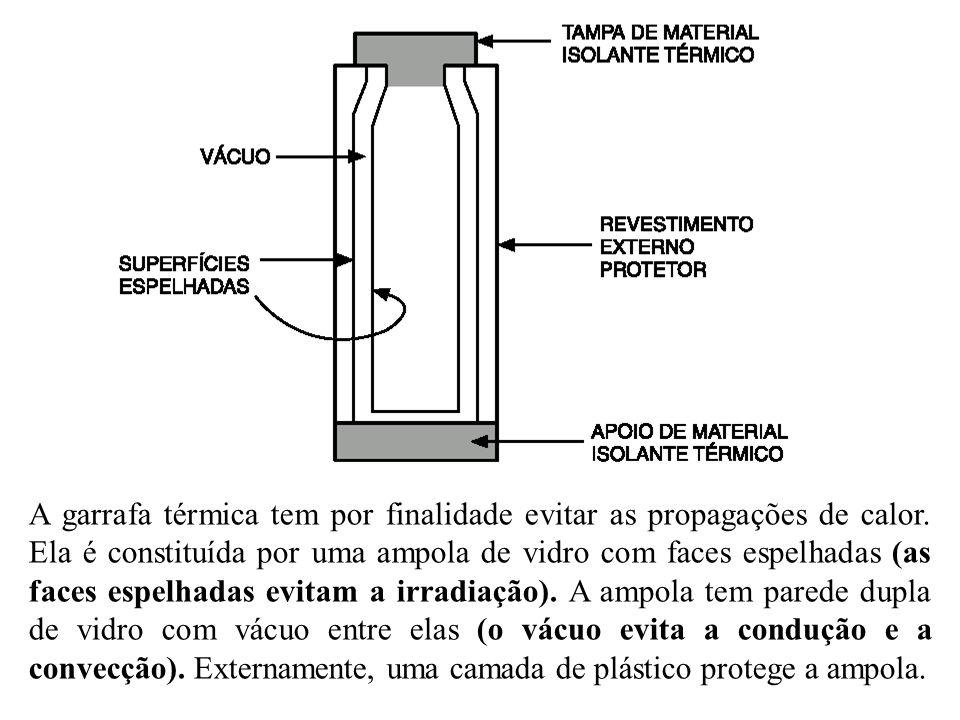 A garrafa térmica tem por finalidade evitar as propagações de calor