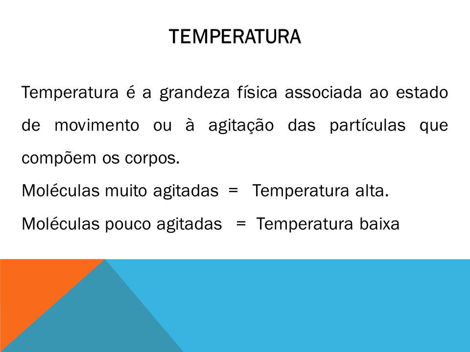 TEMPERATURA Temperatura é a grandeza física associada ao estado de movimento ou à agitação das partículas que compõem os corpos.