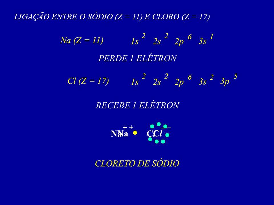 Na (Z = 11) 1s 2s 2p 3s PERDE 1 ELÉTRON Cl (Z = 17) 1s 2s 2p 3s 3p