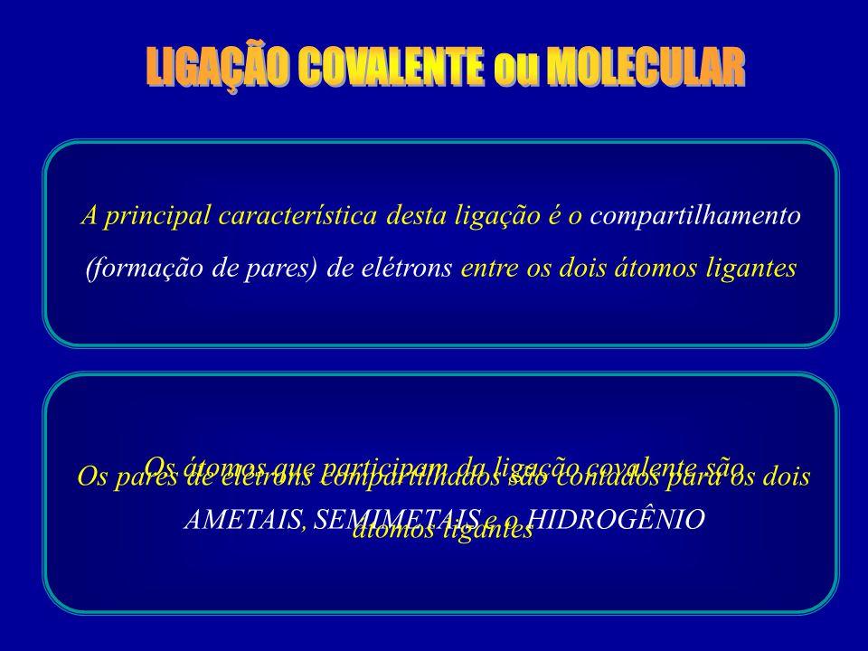 LIGAÇÃO COVALENTE ou MOLECULAR