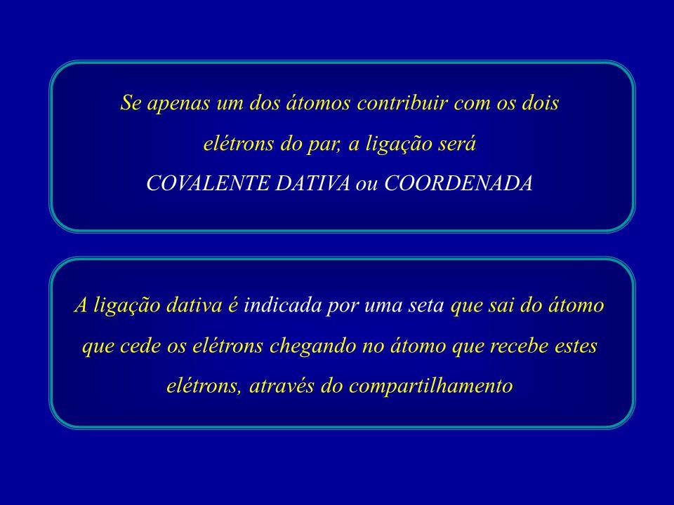 COVALENTE DATIVA ou COORDENADA