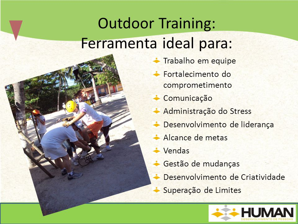 Outdoor Training: Ferramenta ideal para: