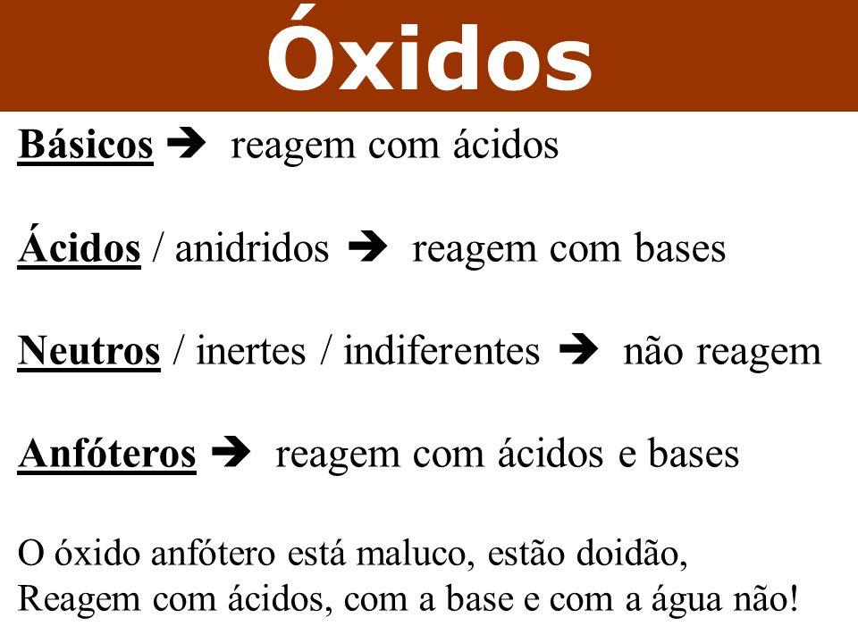 Óxidos Básicos  reagem com ácidos
