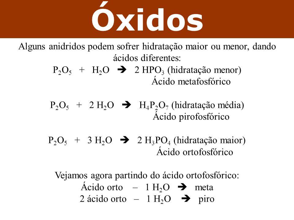 Óxidos Alguns anidridos podem sofrer hidratação maior ou menor, dando ácidos diferentes: P2O5 + H2O  2 HPO3 (hidratação menor)