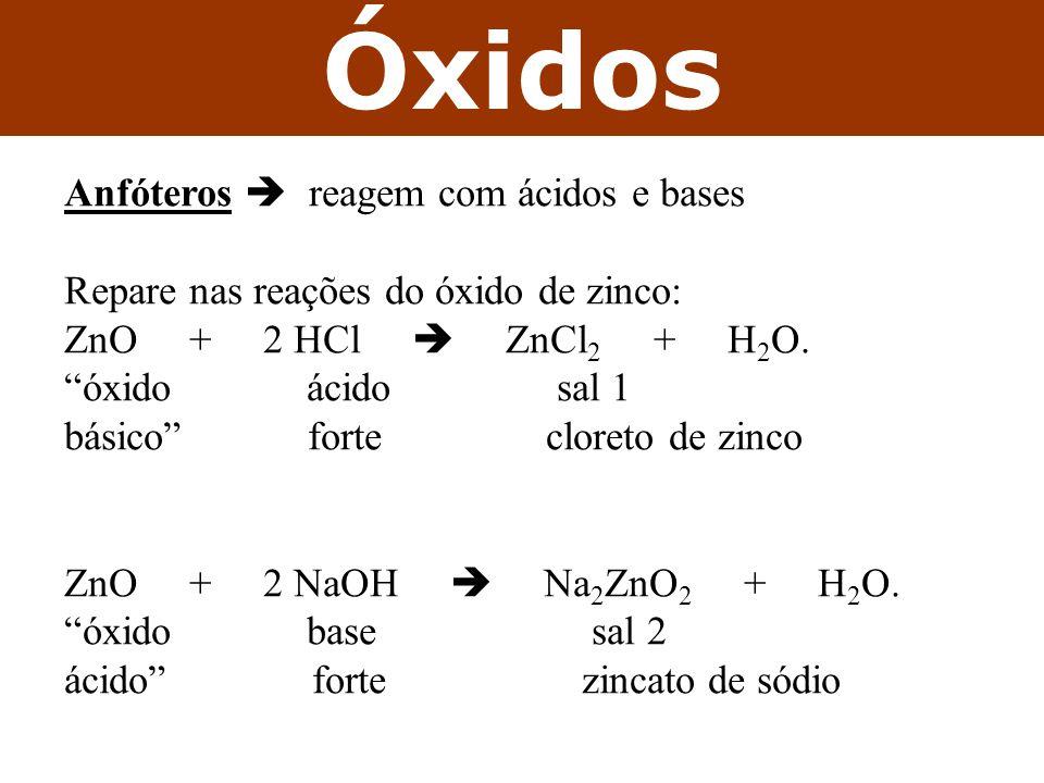 Óxidos Anfóteros  reagem com ácidos e bases
