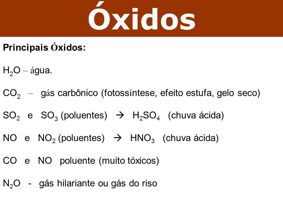 Óxidos Principais Óxidos: H2O – água.