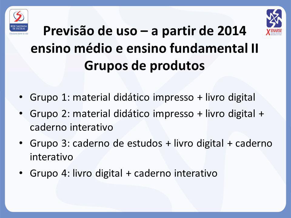 Previsão de uso – a partir de 2014 ensino médio e ensino fundamental II Grupos de produtos