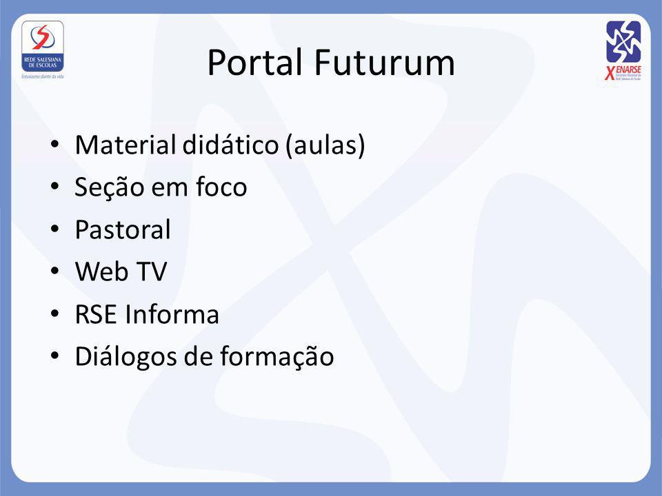 Portal Futurum Material didático (aulas) Seção em foco Pastoral Web TV