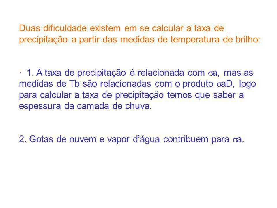 Duas dificuldade existem em se calcular a taxa de precipitação a partir das medidas de temperatura de brilho: