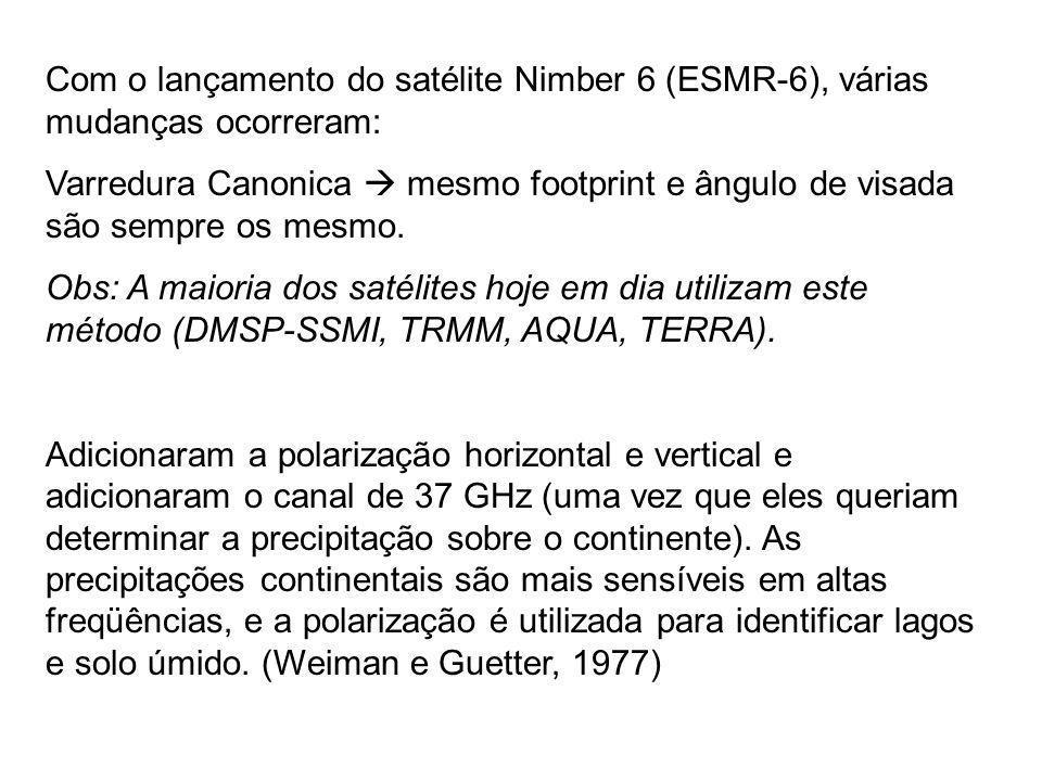 Com o lançamento do satélite Nimber 6 (ESMR-6), várias mudanças ocorreram: