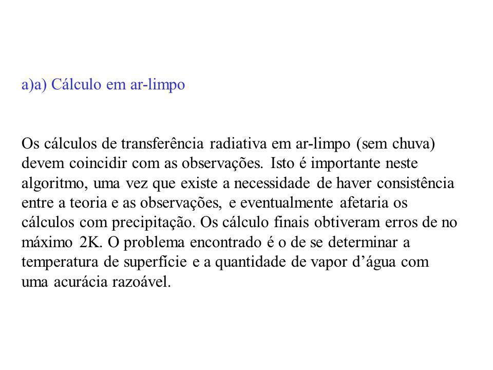 a)a) Cálculo em ar-limpo.