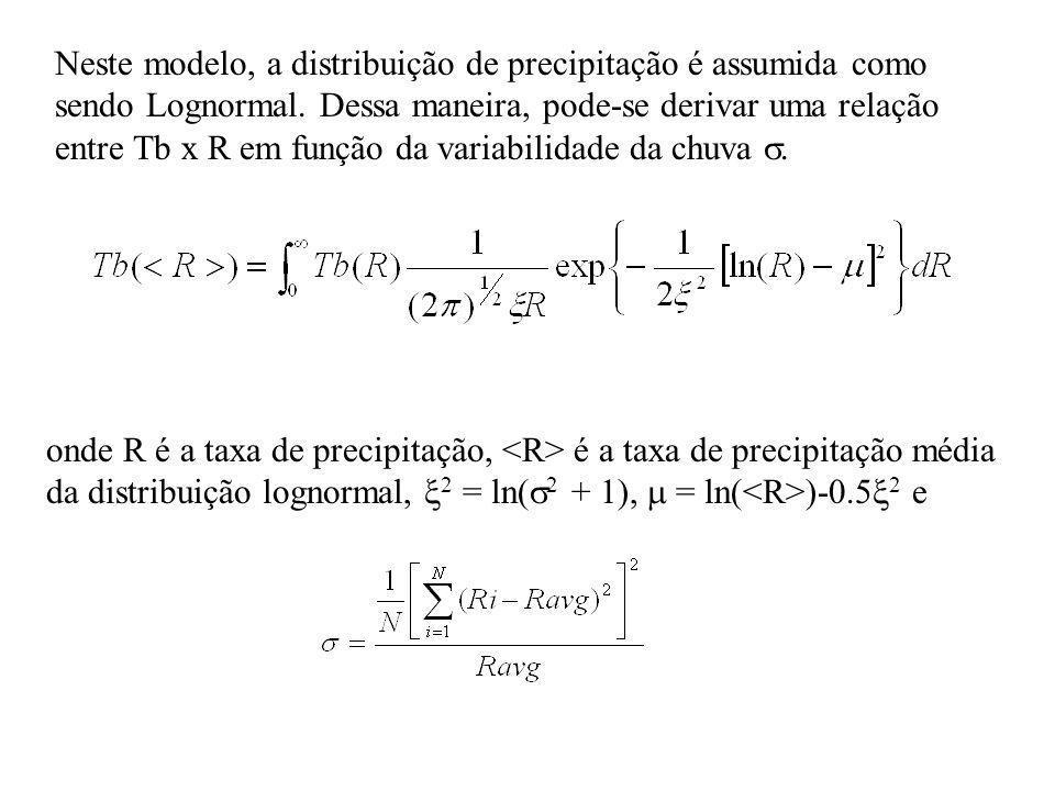 Neste modelo, a distribuição de precipitação é assumida como sendo Lognormal. Dessa maneira, pode-se derivar uma relação entre Tb x R em função da variabilidade da chuva .
