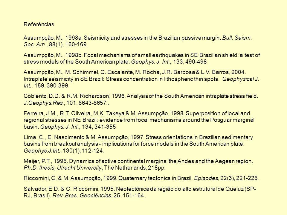 Referências Assumpção, M., 1998a. Seismicity and stresses in the Brazilian passive margin. Bull. Seism. Soc. Am., 88(1), 160-169.