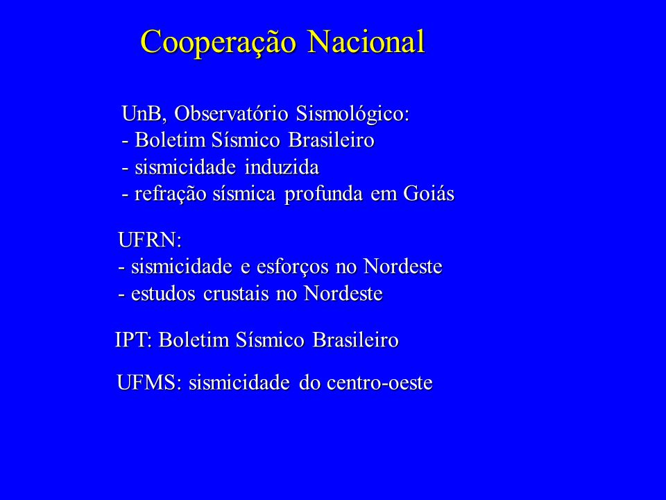 Cooperação Nacional UnB, Observatório Sismológico: