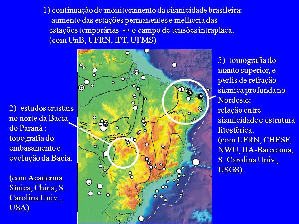 1) continuação do monitoramento da sismicidade brasileira: