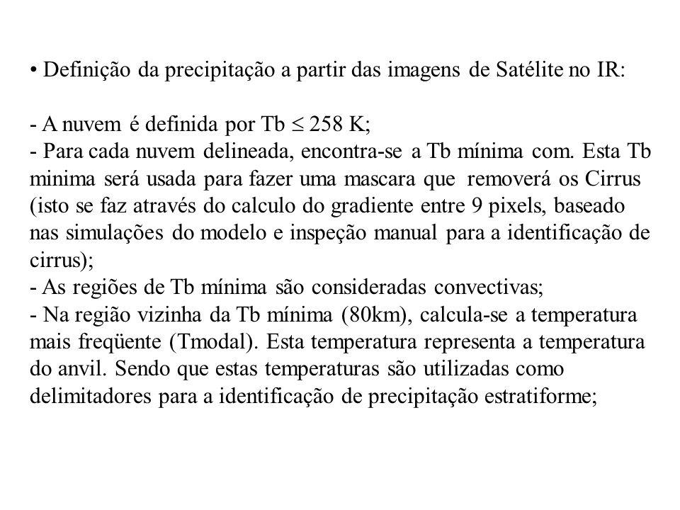 Definição da precipitação a partir das imagens de Satélite no IR: - A nuvem é definida por Tb  258 K; - Para cada nuvem delineada, encontra-se a Tb mínima com.