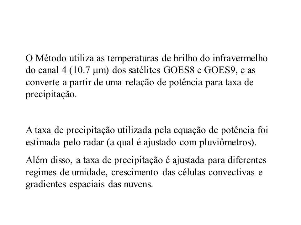 O Método utiliza as temperaturas de brilho do infravermelho do canal 4 (10.7 m) dos satélites GOES8 e GOES9, e as converte a partir de uma relação de potência para taxa de precipitação.
