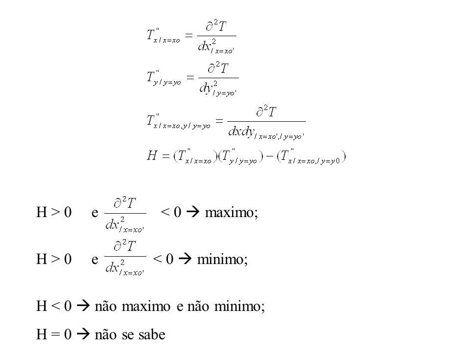 H > 0 e < 0  maximo; H > 0 e < 0  minimo; H < 0  não maximo e não minimo;