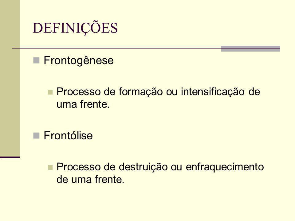 DEFINIÇÕES Frontogênese Frontólise