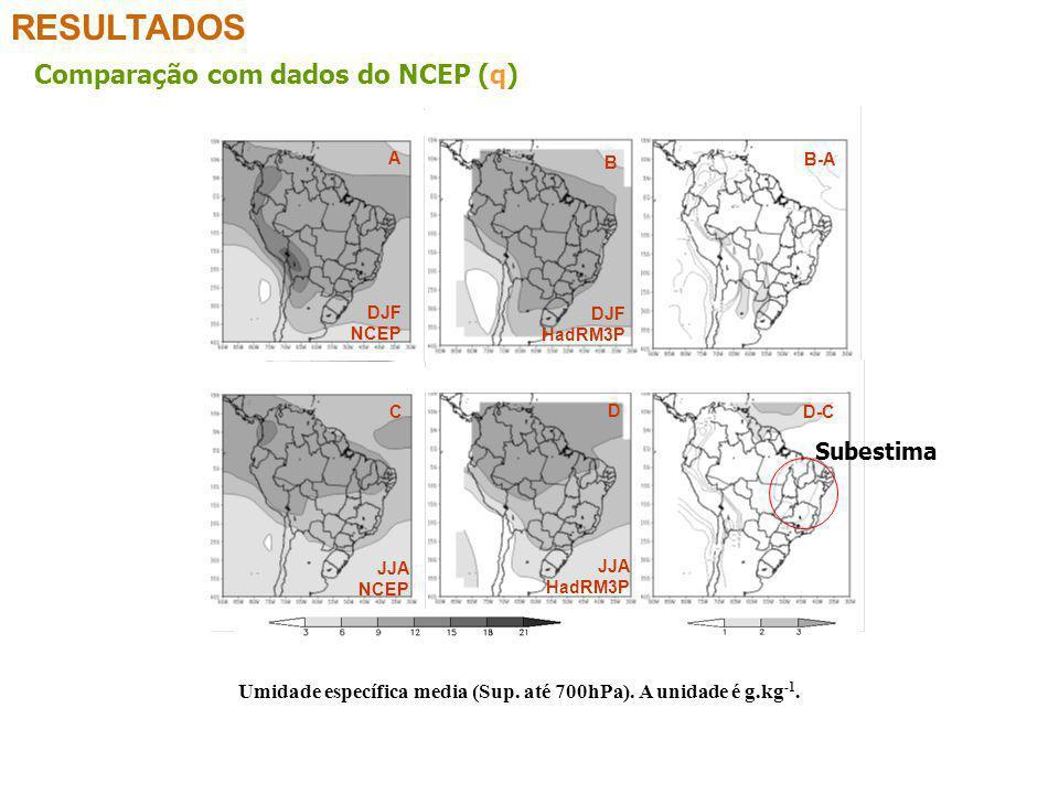 RESULTADOS Comparação com dados do NCEP (q) Subestima