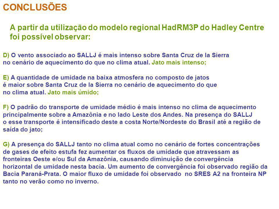 CONCLUSÕES A partir da utilização do modelo regional HadRM3P do Hadley Centre. foi possível observar: