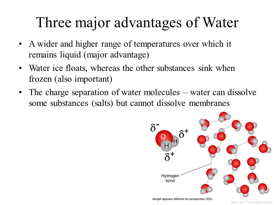 Three major advantages of Water
