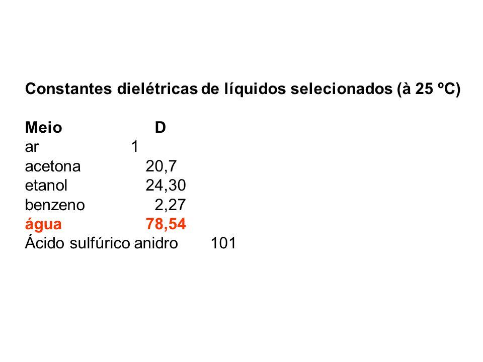 Constantes dielétricas de líquidos selecionados (à 25 ºC)