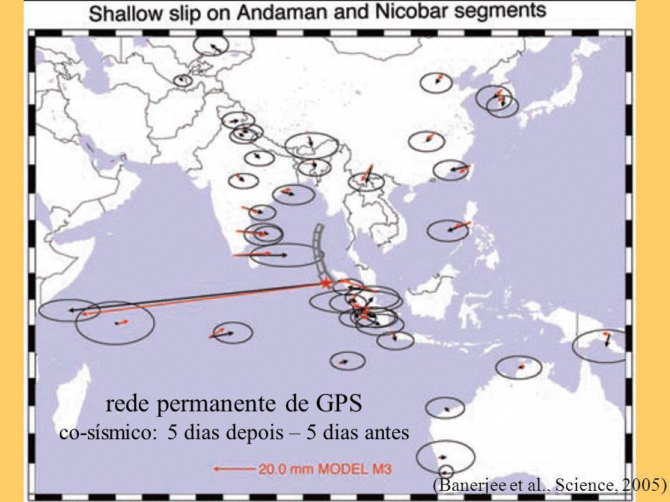 rede permanente de GPS co-sísmico: 5 dias depois – 5 dias antes