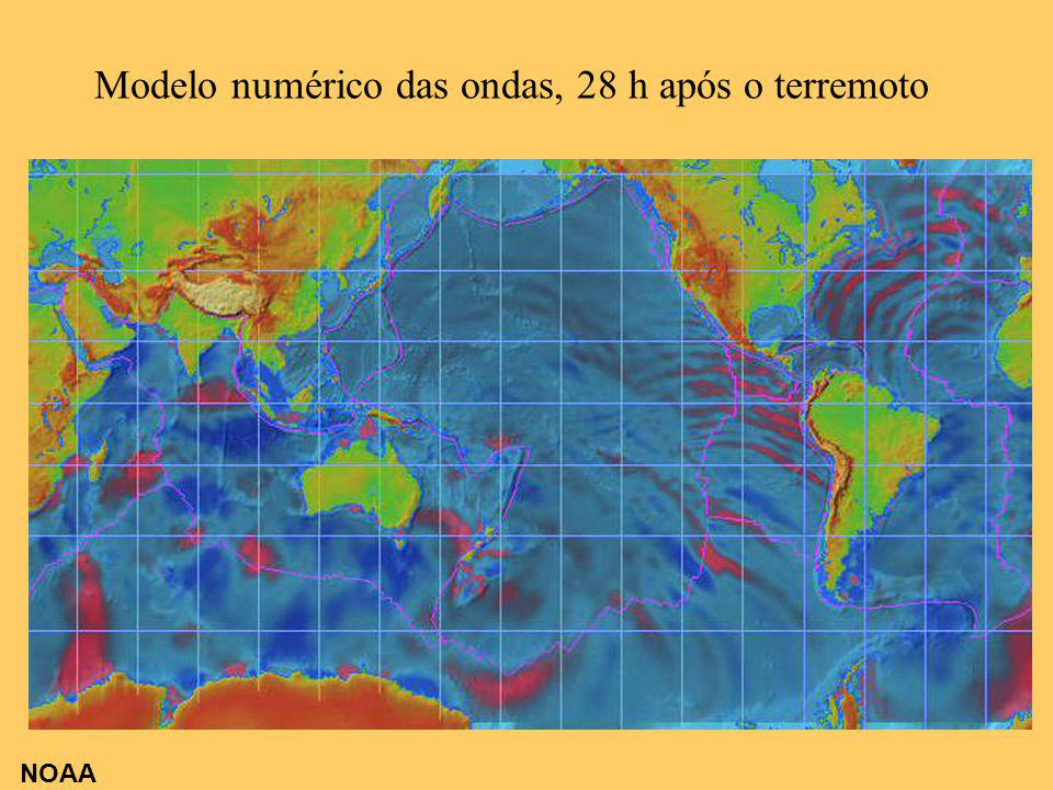Modelo numérico das ondas, 28 h após o terremoto