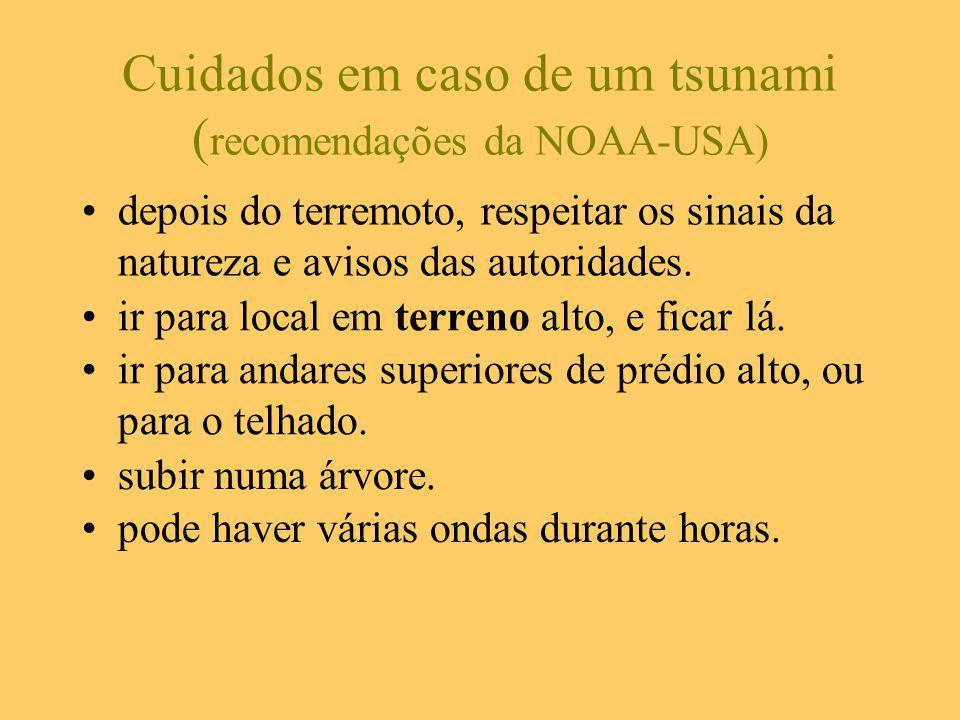 Cuidados em caso de um tsunami (recomendações da NOAA-USA)