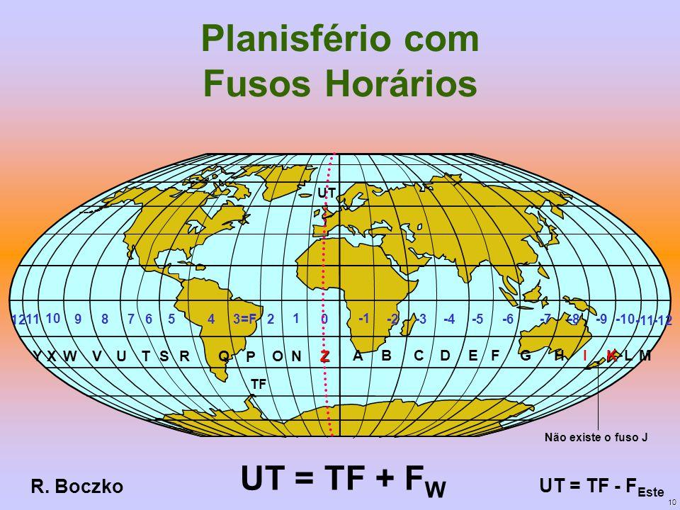 Planisfério com Fusos Horários