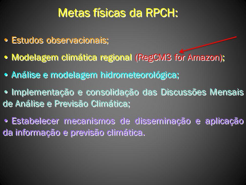 Metas físicas da RPCH: Estudos observacionais;