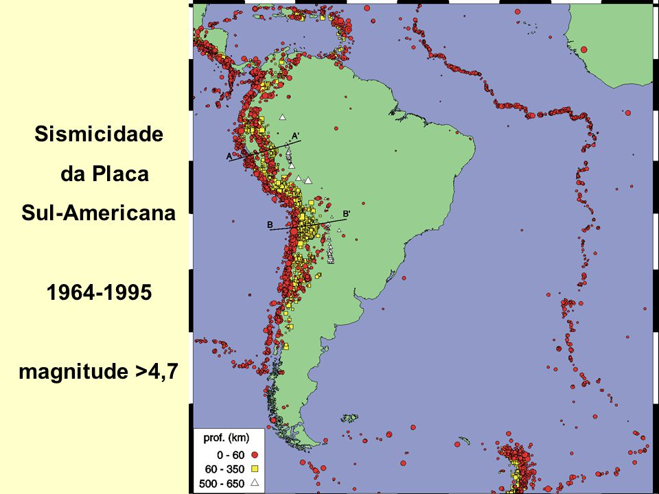 Sismicidade da Placa Sul-Americana 1964-1995 magnitude >4,7