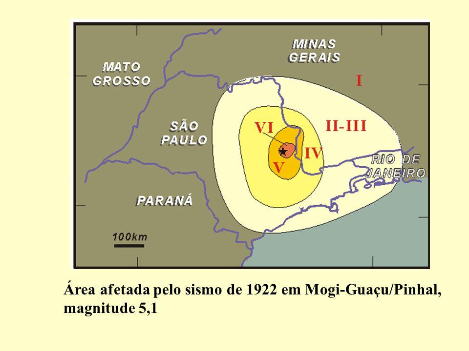 Área afetada pelo sismo de 1922 em Mogi-Guaçu/Pinhal,