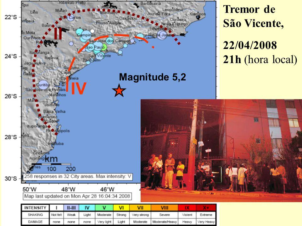Tremor de São Vicente, 22/04/2008 21h (hora local) II Magnitude 5,2 IV