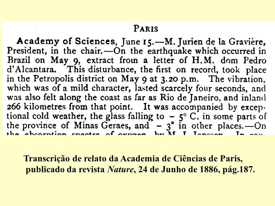 Transcrição de relato da Academia de Ciências de Paris,