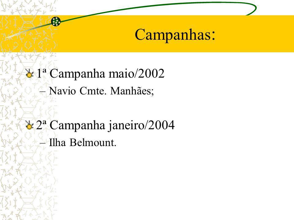 Campanhas: 1ª Campanha maio/2002 2ª Campanha janeiro/2004