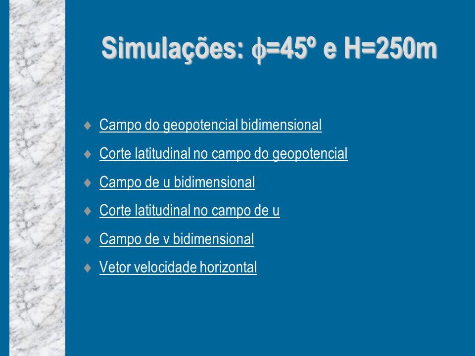 Simulações: =45º e H=250m Campo do geopotencial bidimensional