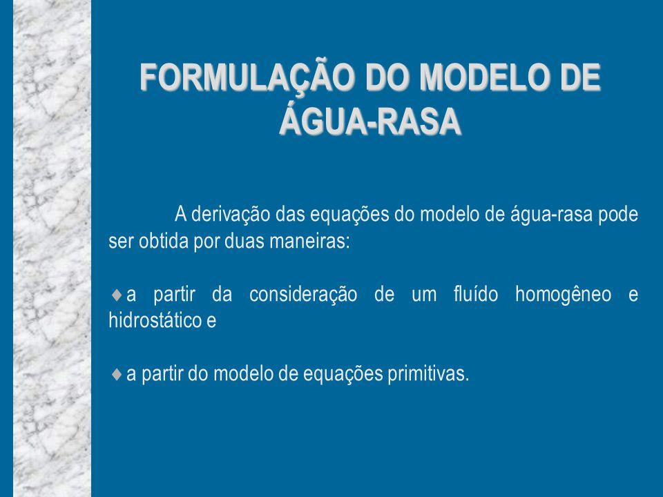 FORMULAÇÃO DO MODELO DE ÁGUA-RASA