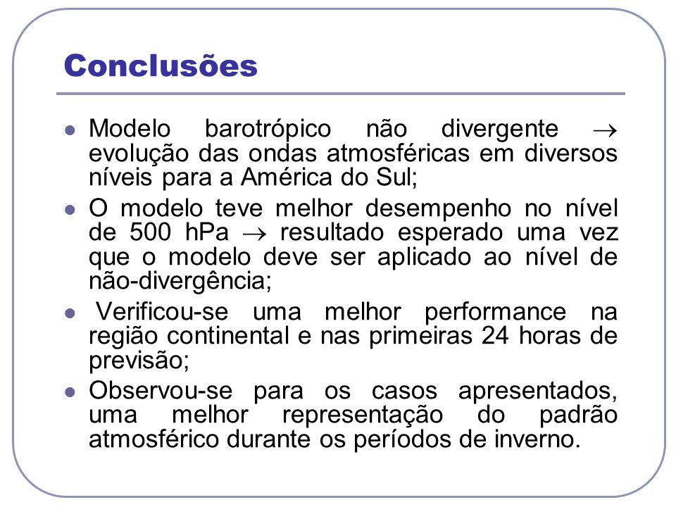 Conclusões Modelo barotrópico não divergente  evolução das ondas atmosféricas em diversos níveis para a América do Sul;
