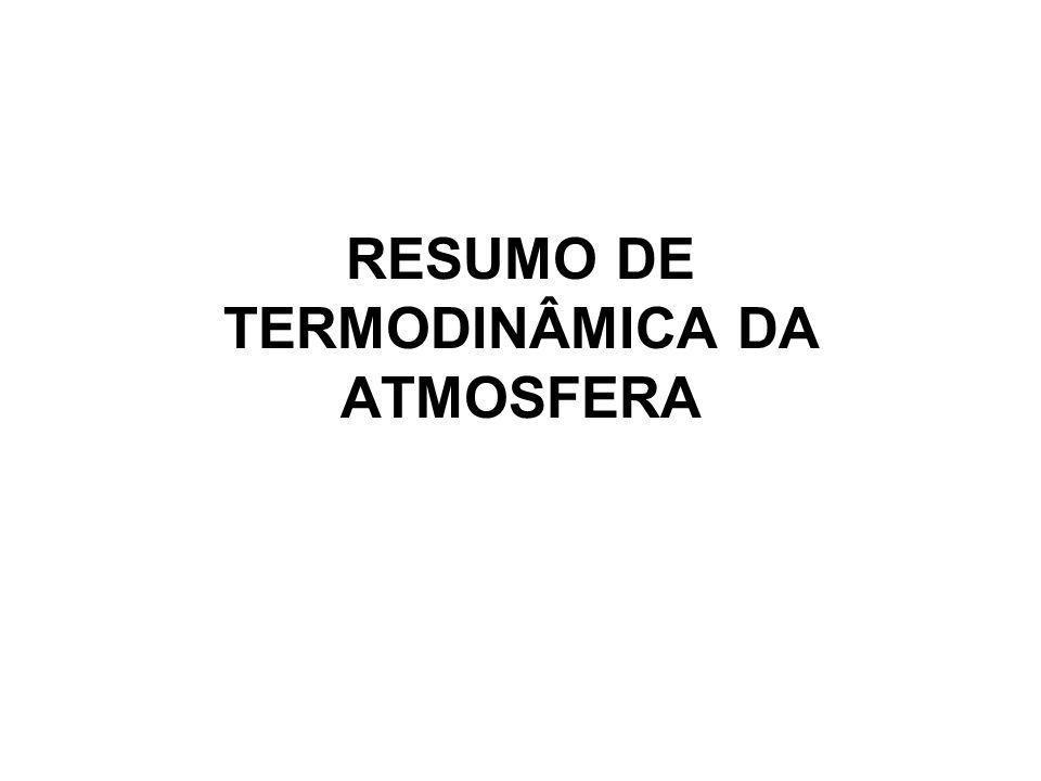 RESUMO DE TERMODINÂMICA DA ATMOSFERA
