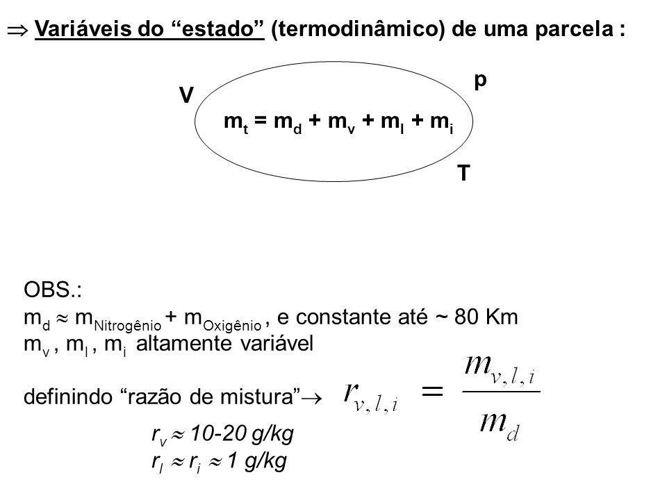  Variáveis do estado (termodinâmico) de uma parcela :