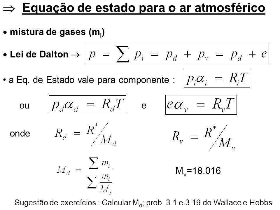  Equação de estado para o ar atmosférico