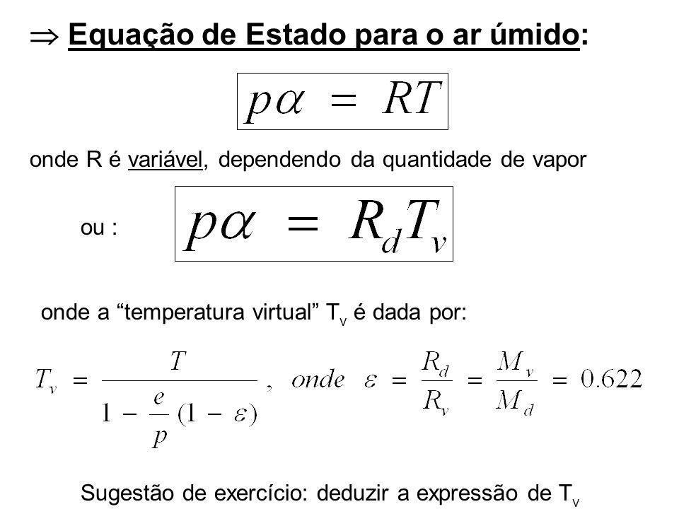  Equação de Estado para o ar úmido: