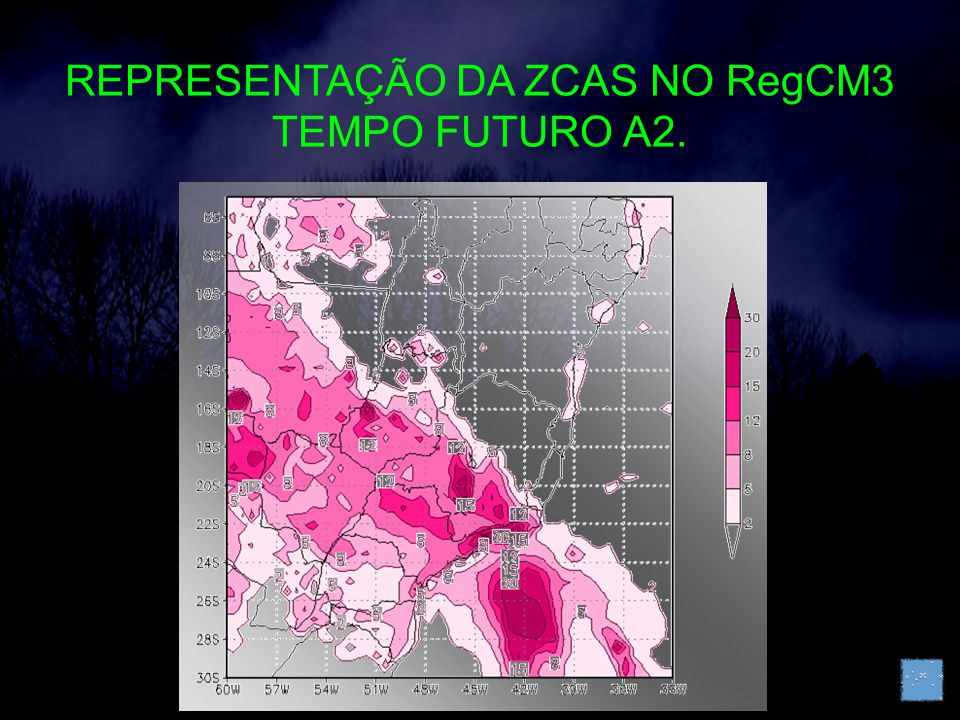 REPRESENTAÇÃO DA ZCAS NO RegCM3 TEMPO FUTURO A2.